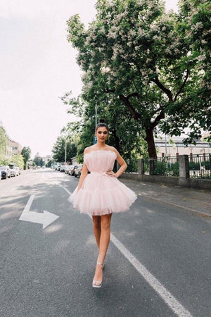 Pink tulle short prom dress short pink homecoming dress