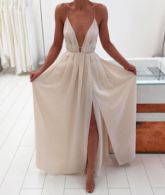 Simple A-line backless long prom dress for teens, evening dress