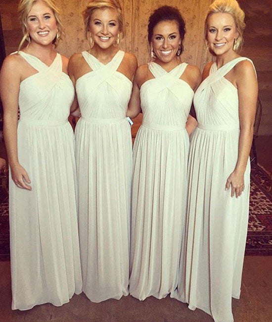 Simple white chiffon long prom dress for teens, white bridesmaid dress