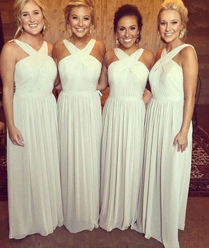Simple white chiffon long prom dress for teens, white bridesmaid dress - shdress