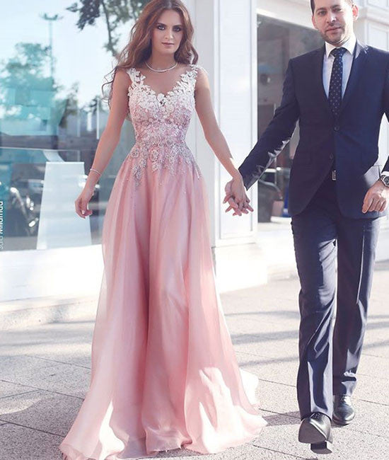 Pink round neck lace long prom dress, pink bridesmaid dresses - shdress