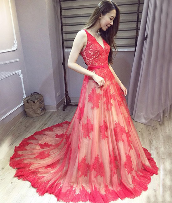 Red v neck lace long prom dress, red lace evening dress