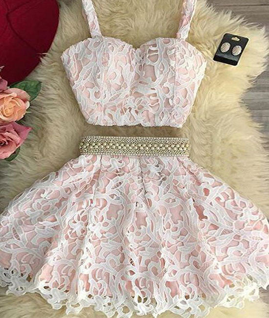 Cute pink two pieces lace short prom dress, pink homecoming dress - shdress