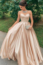 Simple champagne satin long prom dress, evening dress