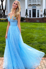 Blue v neck tulle beads long prom dress blue tulle evening dress