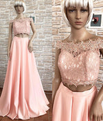 Pink off shoulder lace two pieces long prom dress, pink lace evening dress