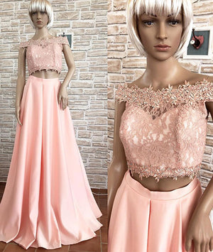 Pink off shoulder lace two pieces long prom dress, pink lace evening dress - shdress