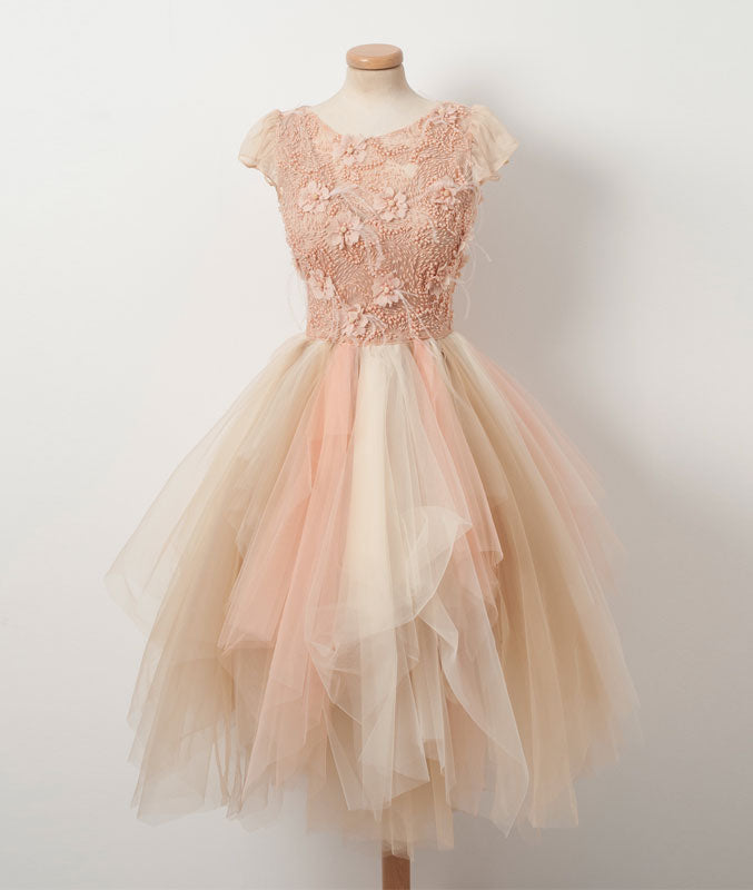Champagne round neck tulle beads short prom dress, homecoming dress - shdress