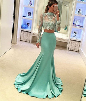 Green Mermaid style two pieces lace long prom dress, evening dress - shdress