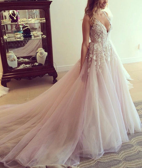 Unique v neck lace tulle long prom dress, evening dress - shdress