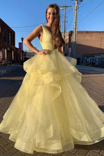Yellow sweetheart tulle long prom dress yellow formal dress