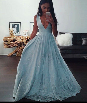 Blue A-line v neck lace long prom dress, blue evening dress - shdress