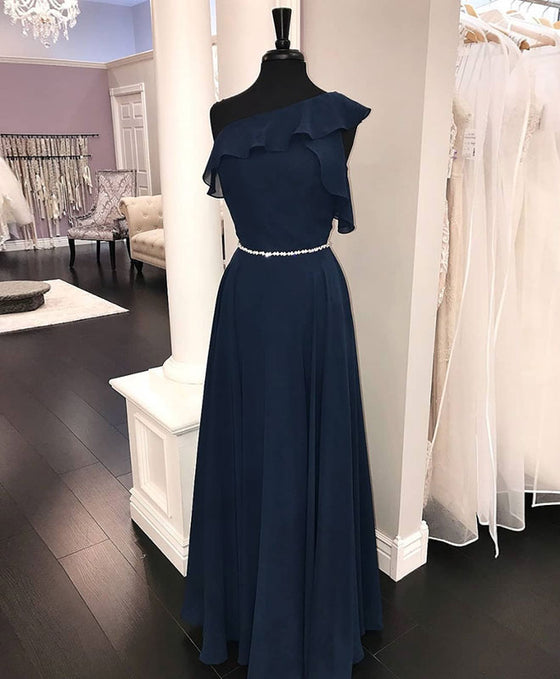 Simple chiffon dark blue long prom dress, bridesmaid dress