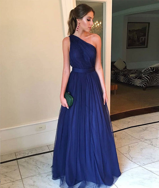 Simple blue one shoulder tulle long prom dress, blue tulle bridesmaid dress