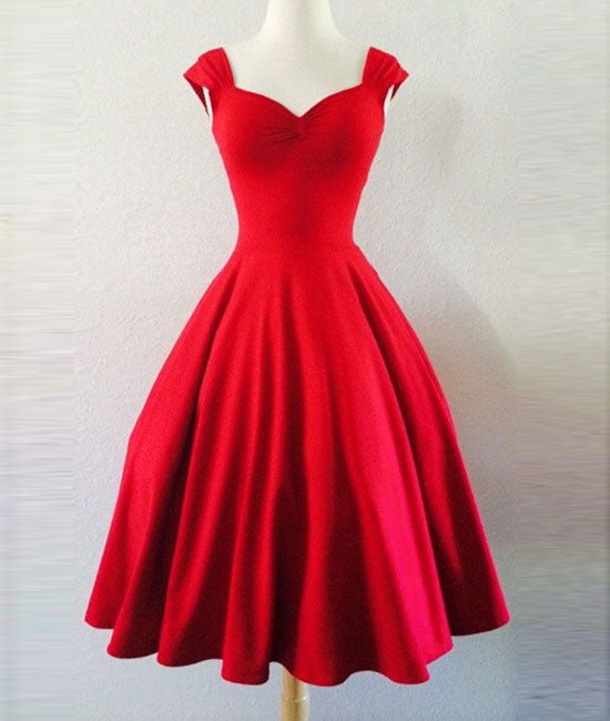 Simple Red sweetheart short prom dress, homecoming dress - shdress