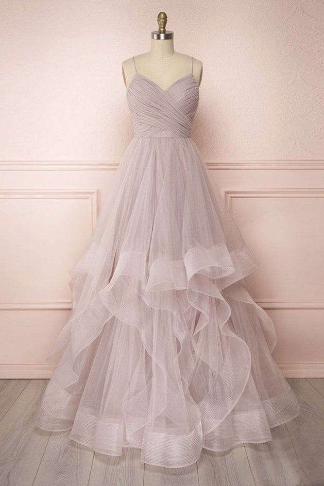 Simple v neck A-line tulle long prom dress sweet 16 dress