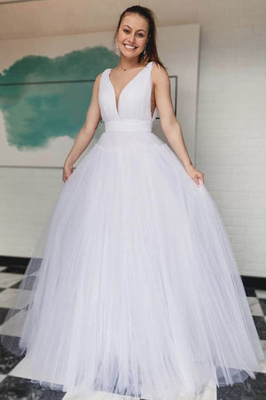Simple v neck white tulle long prom dress white long evening dress