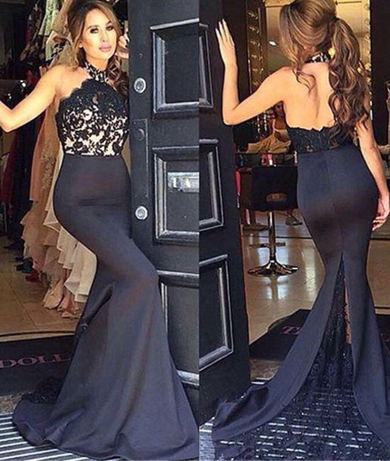 unique black lace long prom dress, bridesmaid dresses