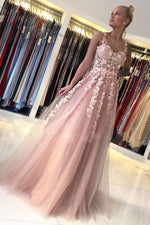 Pink sweetheart tulle lace long prom dress lace evening dress