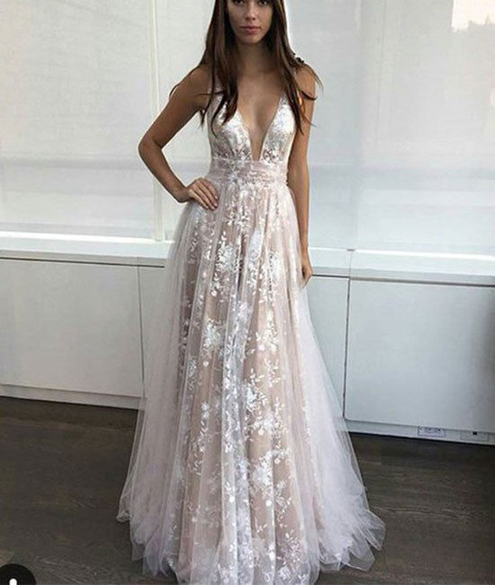 Simple v neck tulle lace long prom dress. lace evening dress