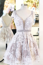 Cute v neck lace short prom dress lace homecoming dress