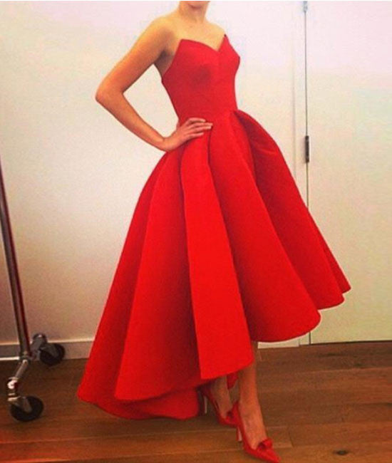 Custom made red sweetheart tea length prom gown, evening dress