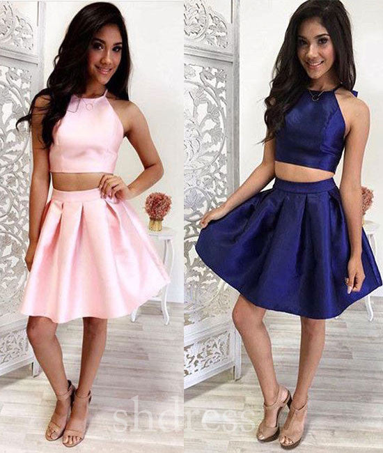 Simple two pieces short prom dress, cute homecoming dress - shdress