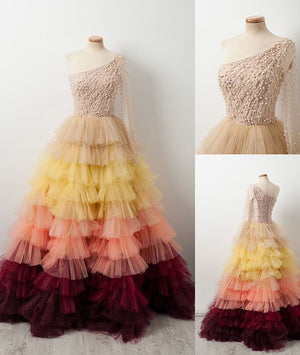 Unique one shoulder tulle beads long prom dress, evening dress - shdress