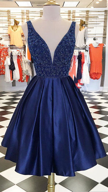 Dark blue v neck beads satin short prom dress, blue homecoming dress - shdress