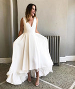 Simple white satin prom dress, white evening dress