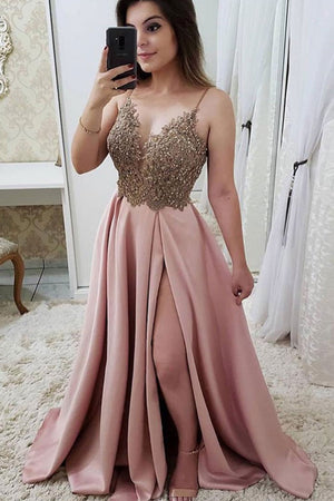 Pink lace long prom dress, pink lace evening dress