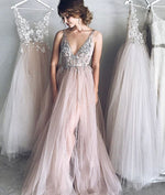 Elegant v neck champagne tulle long prom dress, evening dress