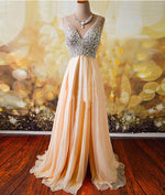 Champagne A-line  v neck Chiffon Long Prom Dress, Formal Dresses