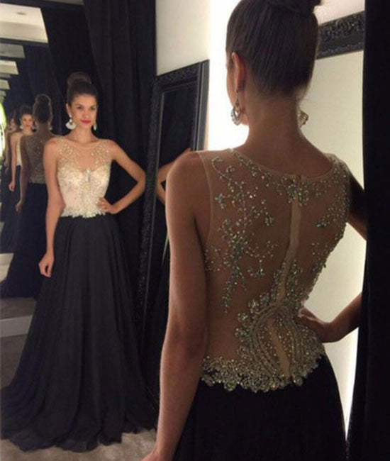Black round neck lace long prom dress, evening dress