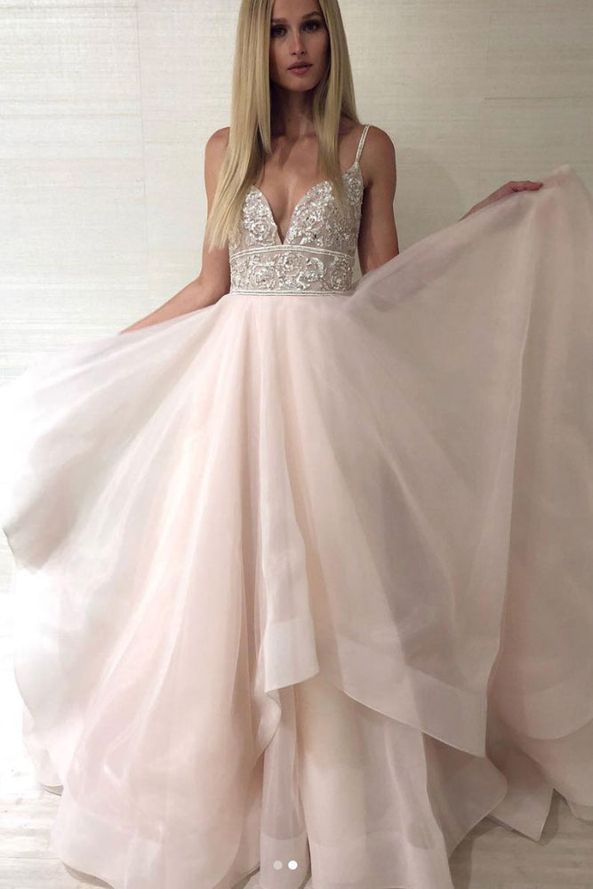 Unique sweetheart sequin beads long prom dress, evening dress