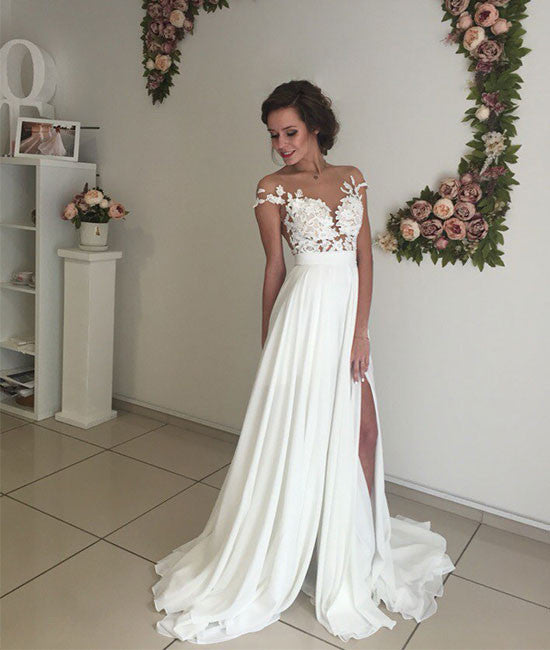 ivory chiffon lace round neck long prom dress, evening dress - shdress