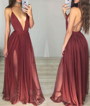 simple v neck chiffon Burgundy long prom dress, evening dress - shdress