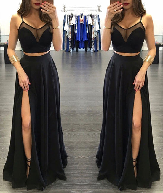 Custom made two pieces black long prom dress, evening dress - shdress