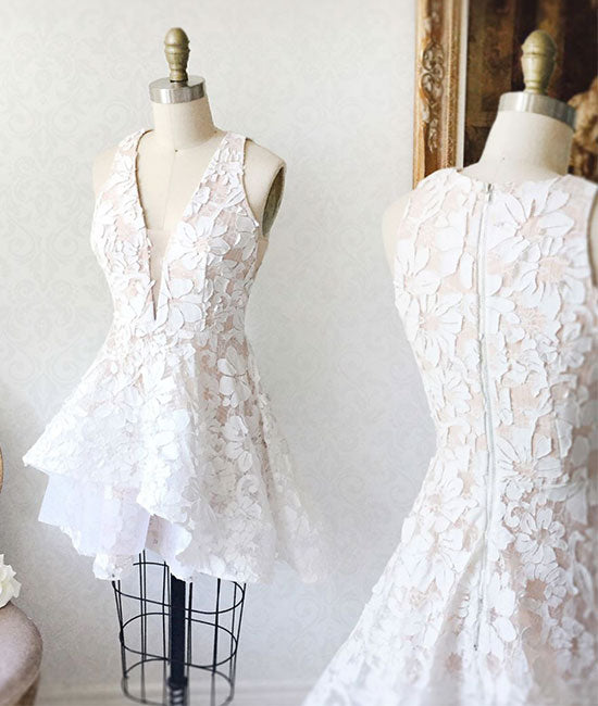 White lace short prom dress, lace homecoming dress