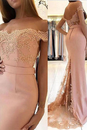 Pink lace mermaid long prom dress, pink bridesmaid dress