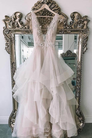 Unique v neck tulle lace long prom dress, evening dress