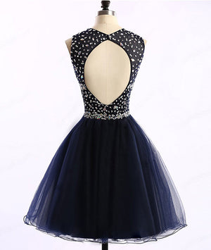 Dark blue tulle short prom dress, cute homecoming dress - shdress