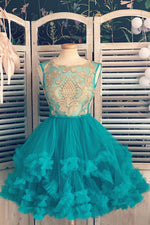Green tulle lace short prom dress, green lace homecoming dress