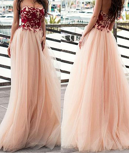 Champagne tulle sweetheart neck lace applique long prom dress. evening dress - shdress