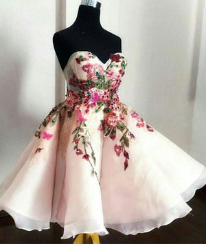 Cute sweetheart applique short prom dress, cute homecoming dress - shdress
