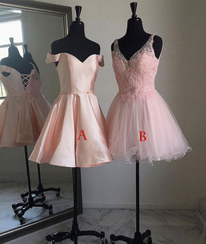 Pink short prom dress, cute pink homecoming dress, formal dress - shdress