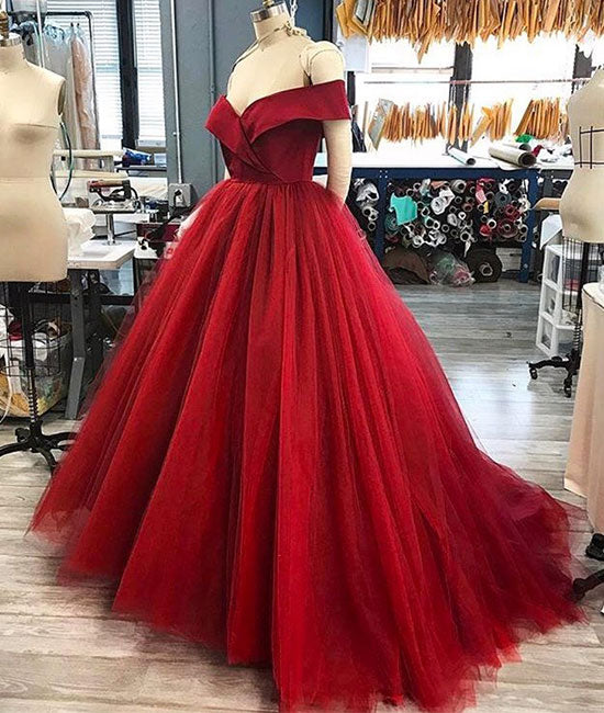 Red off shoulder tulle long prom dress, ted tulle long evening dress - shdress