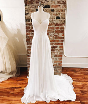 Simple White chiffon long prom dress, white evening dress - shdress