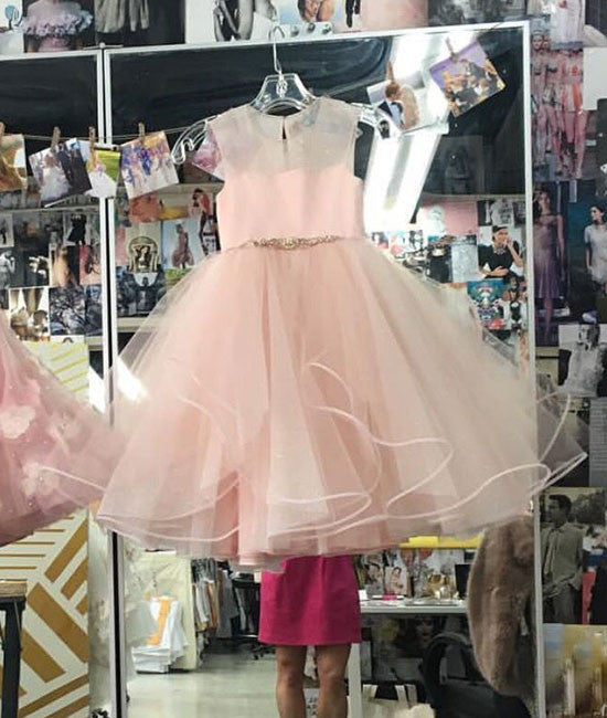 Simple pink short prom dress, cute pink homecoming dress