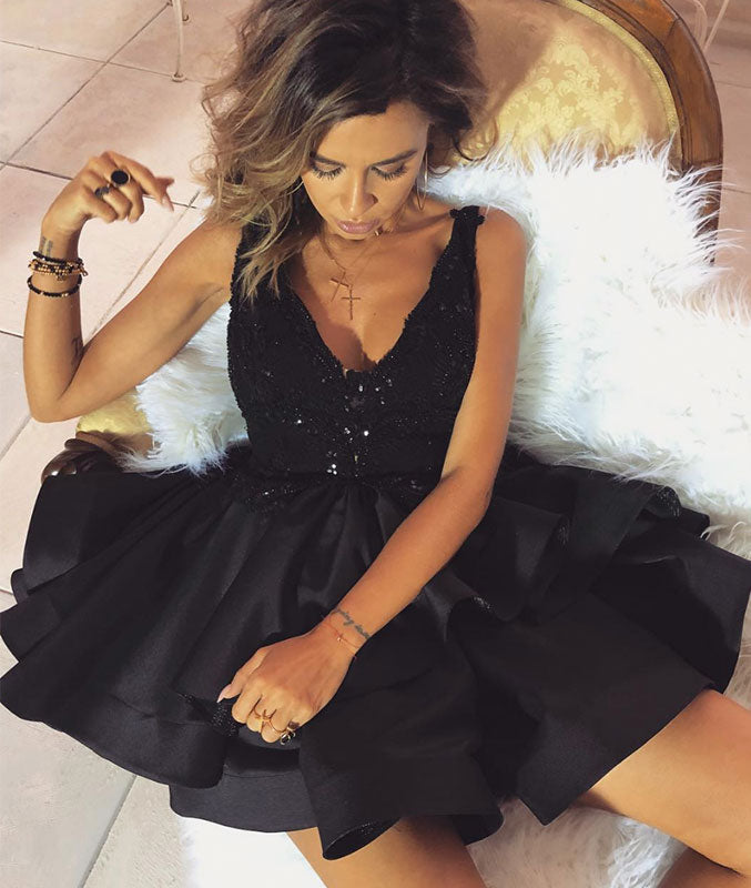 Black v neck short prom dress, black homecoming dress